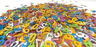 3D multi colour pile of alphabet letters on white background. Group Stock Photo