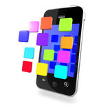 3d Multi coloured apps on smartphone Royalty Free Stock Photography