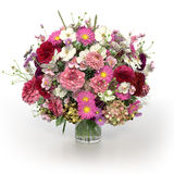 3D - Multi coloured flowers in vase Royalty Free Stock Photo