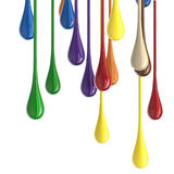 3D multicolor colorful glossy paint drop blobs Stock Image
