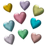 3D Multicolor Hearts Royalty Free Stock Images