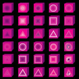 3D multimedia icons. Music and sound button set. Stock Image