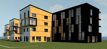 3D multy层房子模型 免版税库存照片