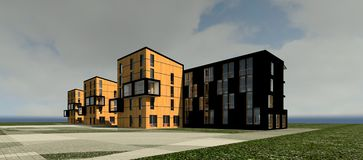 3D multy-story house MODEL. 3D model render of bulding Royalty Free Stock Photo