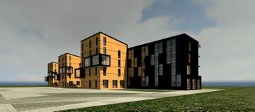 3D multy-story house MODEL. 3D model render of bulding Stock Photo