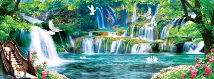 3d mural colorful landscape . flowers branches multi colors with trees and water . Waterfall and flying birds . suitable for print