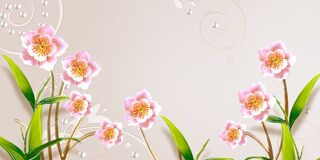 3d mural illustration light gray background with golden jewelry and flowers with silhouettes of dandelions , pearl , butterfly , g