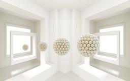 3d mural interior room wallpaper . windows and 3d ball sphere . modern background