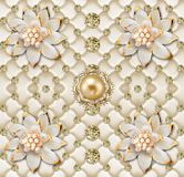 3d mural pattern flowers abstract Gold crystal ball in 3d background wallpaper