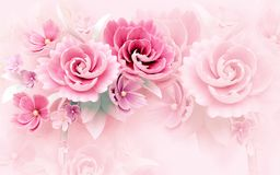 3d mural wallpaper abstract background with rose and white and  flowers