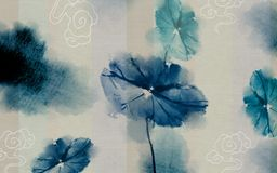3d mural wallpaper abstract. Blue watercolor paint flowers background