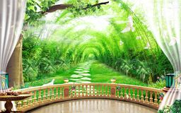 3d mural wallpaper Beautiful view of landscape background from the old arches, tree, sun, water , birds flowers and transparent cu
