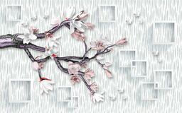 3d mural wallpaper design with render flower and tree branch . butterfly and white background