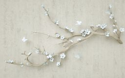 3d mural wallpaper design with render flower and tree branch . butterfly and wooden background
