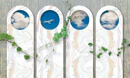 3d mural wallpaper green branches with modern background with sky, birds, cloud