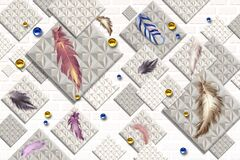 3d mural wallpaper for wall . Gray squares in background with colored Feathers and golden balls .