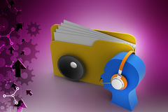3d music file with man icon and head phone Stock Photos