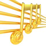 3D music note on staves Royalty Free Stock Images