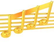 3D music note on staves on a white Stock Photo