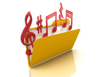 3d music notes in Folder Royalty Free Stock Photo