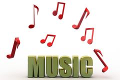 3d music text and music notes Royalty Free Stock Photos