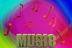 3d music text and music notes illustration Royalty Free Stock Photography