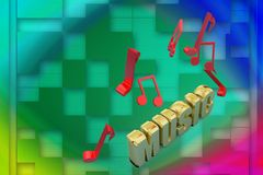 3d music text and music notes illustration Stock Image