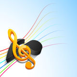 3D musical notes with colorful waves. Royalty Free Stock Image