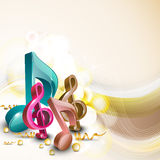 3D musical notes with waves. Stock Photography