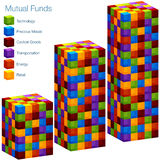 3d Mutual Fund Bar Chart. An image of a 3d mutual fund bar chart vector illustration