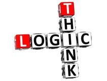 3D myśli logiki Crossword Zdjęcie Royalty Free