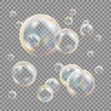 3D Mydlanych bąbli Przejrzysty wektor Sfery piłka Woda I piana projekt button ręce s push odizolowana początku ilustracyjna kobie Obraz Royalty Free