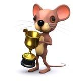 3d mysz wygrywa złocistego trofeum Obraz Stock