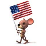 3d myszy wmarsz z flaga amerykańską Obraz Royalty Free