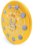 3d närbild av det guld- Bitcoin myntet, decentraliserad crypto-valuta Arkivbild