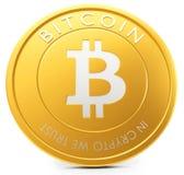 3d närbild av det guld- Bitcoin myntet, decentraliserad crypto-valuta Fotografering för Bildbyråer