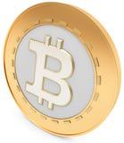 3d närbild av det guld- Bitcoin myntet, decentraliserad crypto-valuta stock illustrationer