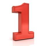 3D número vermelho um, 1 isolado sobre o fundo branco Foto de Stock