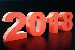 3D números do texto 3D da ilustração 2018 Texto do ano novo feliz 2018 Fotos de Stock Royalty Free