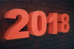 3D números do texto 3D da ilustração 2018 Texto do ano novo feliz 2018 Fotografia de Stock Royalty Free