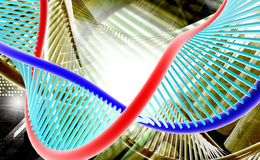 D N A. Digital illustration of a dna in colour background royalty free stock photography