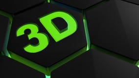 3D na luz verde em hexágonos backlighted - rendição 3D Imagem de Stock Royalty Free