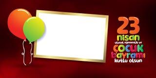 D?a nacional 23 de abril de la soberan?a y de los ni?os Cartelera, cartel, medios social, plantilla de la tarjeta de felicitaci?n foto de archivo