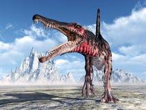 3d nad ścieżką ścinku dinosaur odpłaca się cienia spinosaurus biel ilustracja wektor