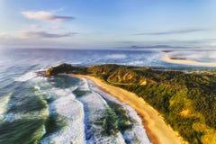 D Nambucca Hoofdshelly beach mist Royalty-vrije Stock Foto