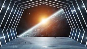 Огромный космический корабль внутреннее 3D залы представляя элементы этого изображения обеспечил NASA иллюстрация вектора