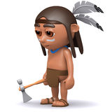 3d Native American Indian with axe Stock Photo