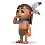 3d Native American Indian boy calls to his friends Royalty Free Stock Photography