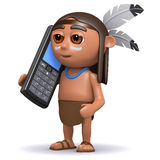 3d Native American Indian chats on cellphone Royalty Free Stock Photos
