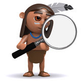 3d Native American Indian with magnifying glass Stock Photography